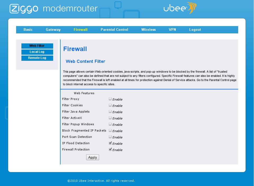 Ubee EVW3200 modem